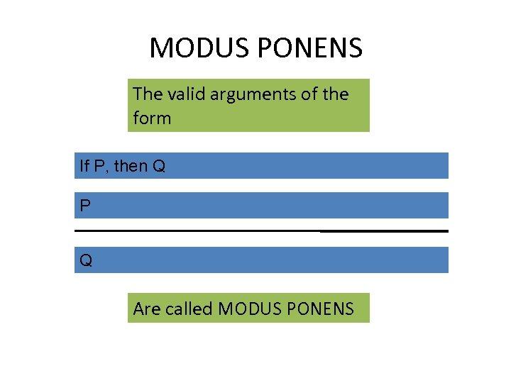 MODUS PONENS The valid arguments of the form If P, then Q P Q