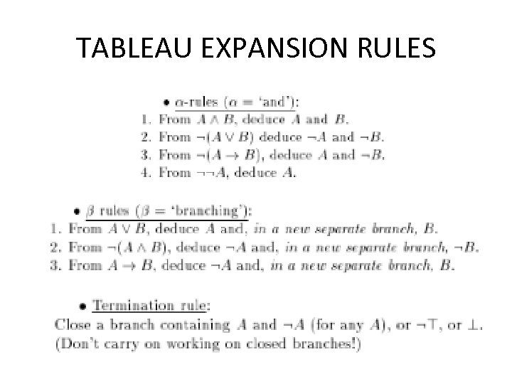 TABLEAU EXPANSION RULES