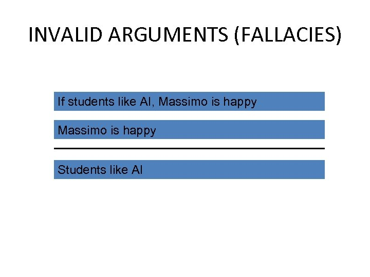 INVALID ARGUMENTS (FALLACIES) If students like AI, Massimo is happy Students like AI