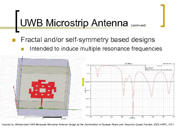 UWB Microstrip Antenna n (continued) Fractal and/or self-symmetry based designs n Intended to induce