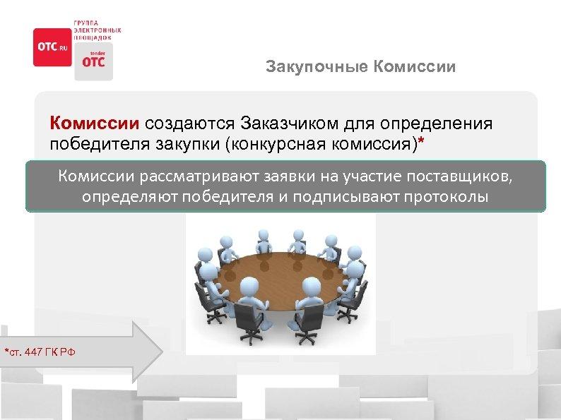 Закупочные Комиссии создаются Заказчиком для определения победителя закупки (конкурсная комиссия)* Комиссии рассматривают заявки на
