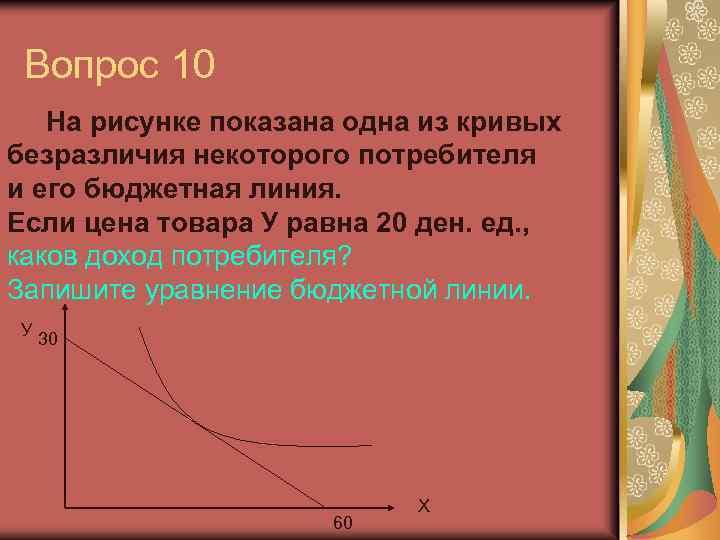Вопрос 10 На рисунке показана одна из кривых безразличия некоторого потребителя и его бюджетная