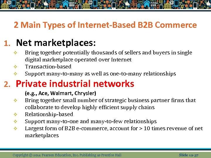 2 Main Types of Internet-Based B 2 B Commerce 1. Net marketplaces: v v