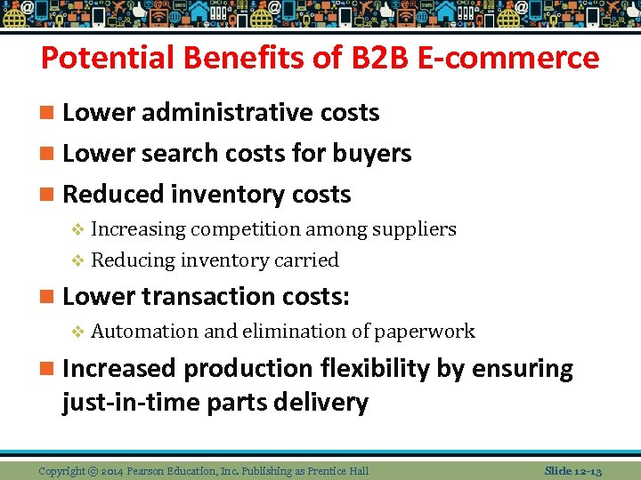 Potential Benefits of B 2 B E-commerce n Lower administrative costs n Lower search