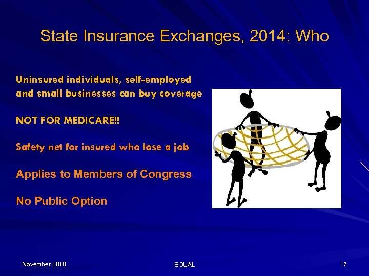 State Insurance Exchanges, 2014: Who Uninsured individuals, self-employed and small businesses can buy coverage