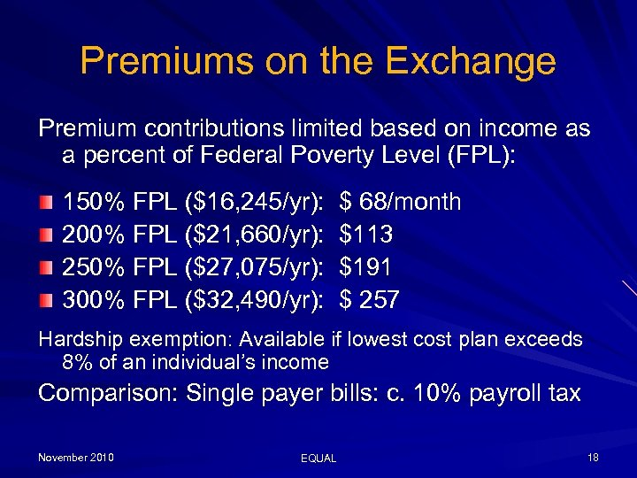 Premiums on the Exchange Premium contributions limited based on income as a percent of