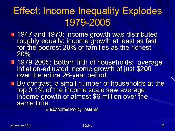 Effect: Income Inequality Explodes 1979 -2005 1947 and 1973: income growth was distributed roughly