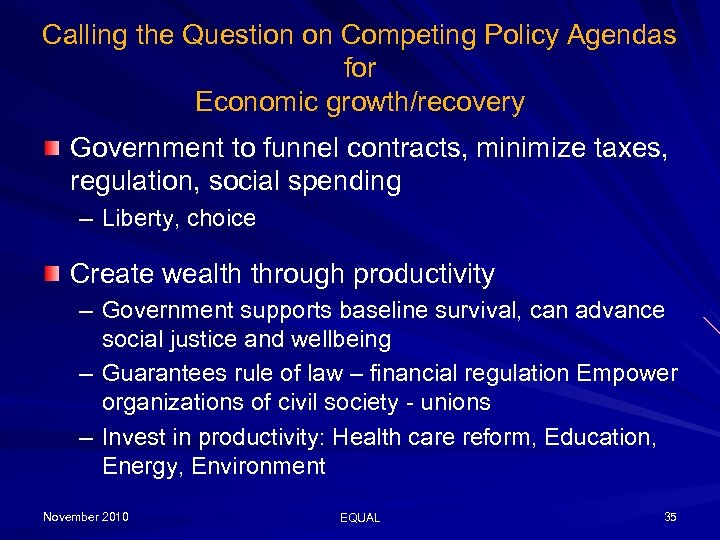 Calling the Question on Competing Policy Agendas for Economic growth/recovery Government to funnel contracts,