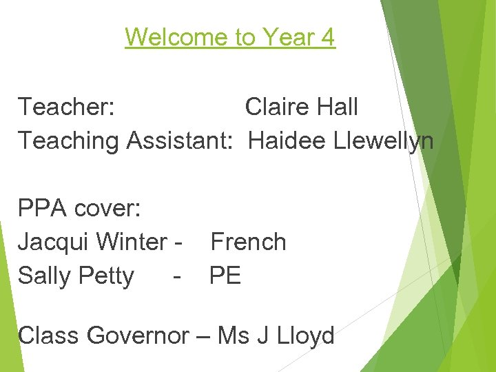 Welcome to Year 4 Teacher: Claire Hall Teaching Assistant: Haidee Llewellyn PPA cover: Jacqui