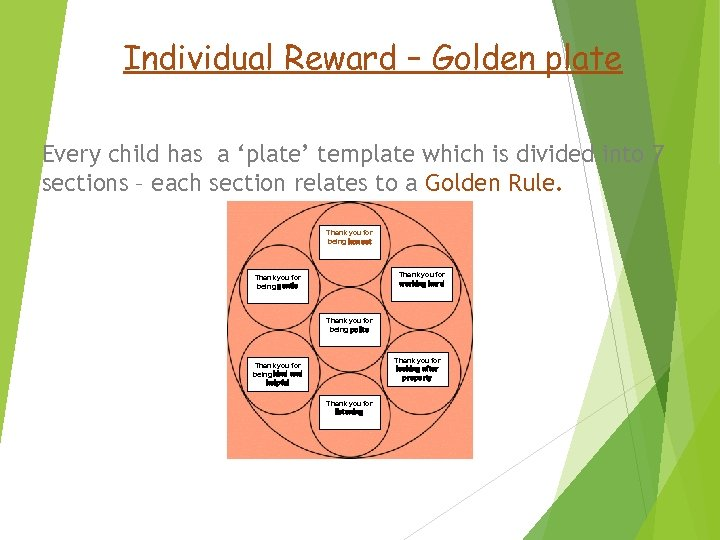 Individual Reward – Golden plate Every child has a 'plate' template which is divided