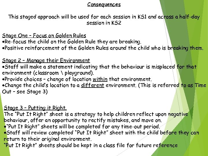 Consequences This staged approach will be used for each session in KS 1 and