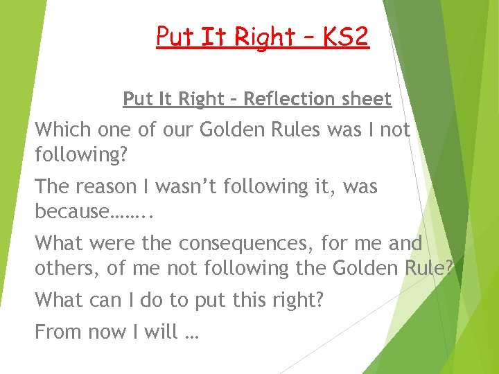 Put It Right – KS 2 Put It Right – Reflection sheet Which one