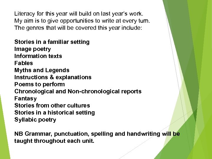 Literacy for this year will build on last year's work. My aim is to