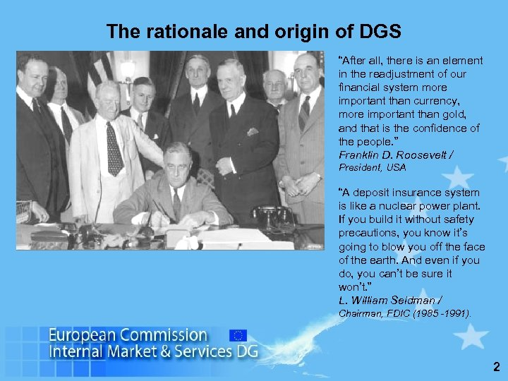 "The rationale and origin of DGS ""After all, there is an element in the"