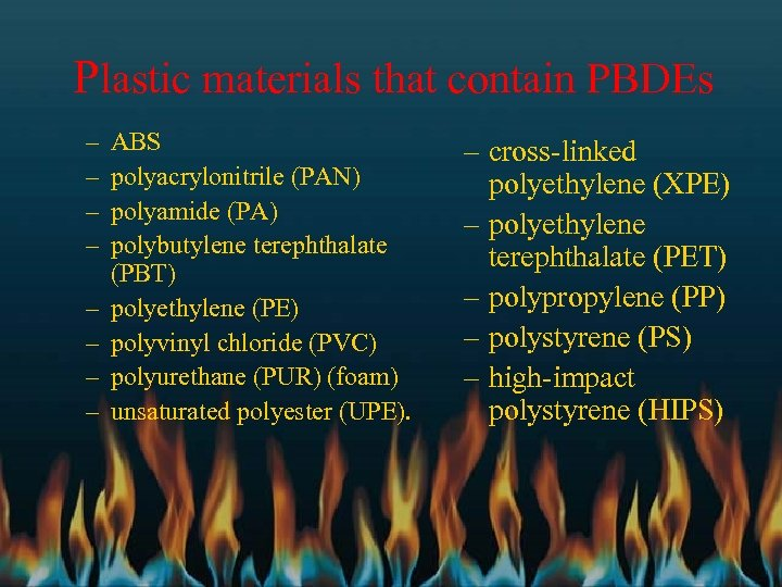 Plastic materials that contain PBDEs – – – – ABS polyacrylonitrile (PAN) polyamide (PA)