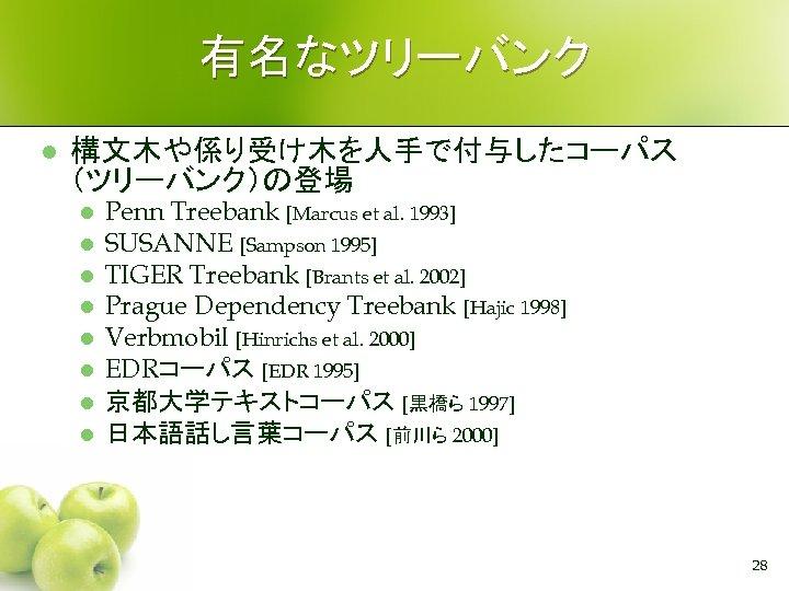 有名なツリーバンク l 構文木や係り受け木を人手で付与したコーパス (ツリーバンク)の登場 l l l l Penn Treebank [Marcus et al. 1993]