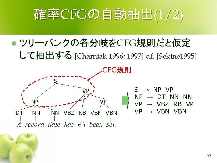 確率CFGの自動抽出(1/2) l ツリーバンクの各分岐をCFG規則だと仮定 して抽出する [Charniak 1996; 1997] c. f. [Sekine 1995] CFG規則 S VP