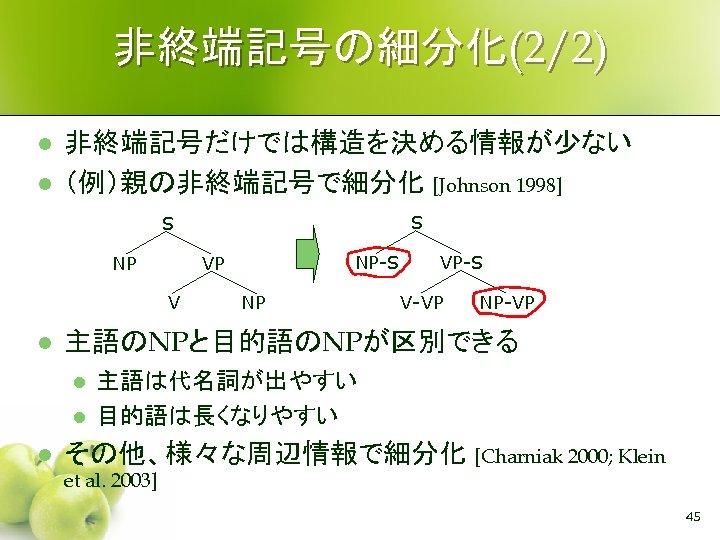 非終端記号の細分化(2/2) l l 非終端記号だけでは構造を決める情報が少ない (例)親の非終端記号で細分化 [Johnson 1998] S S NP V l NP VP-S
