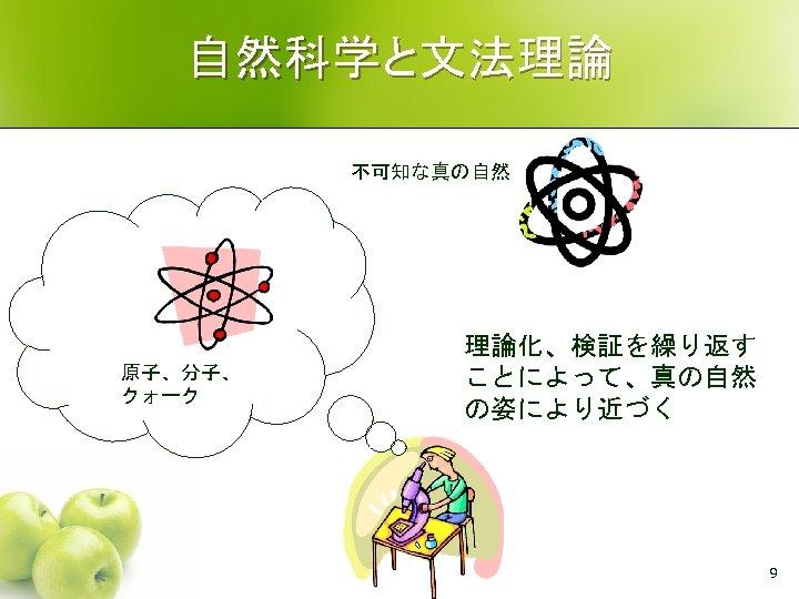 自然科学と文法理論 不可知な真の自然 原子、分子、 クォーク 理論化、検証を繰り返す ことによって、真の自然 の姿により近づく 9