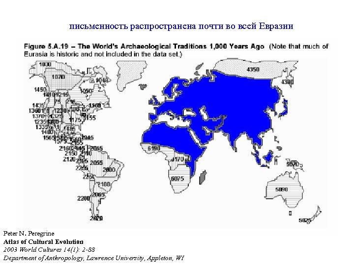 письменность распространена почти во всей Евразии Peter N. Peregrine Atlas of Cultural Evolution 2003
