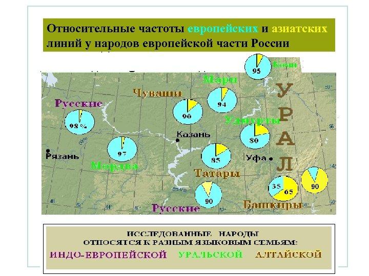 Относительные частоты европейских и азиатских линий у народов европейской части России