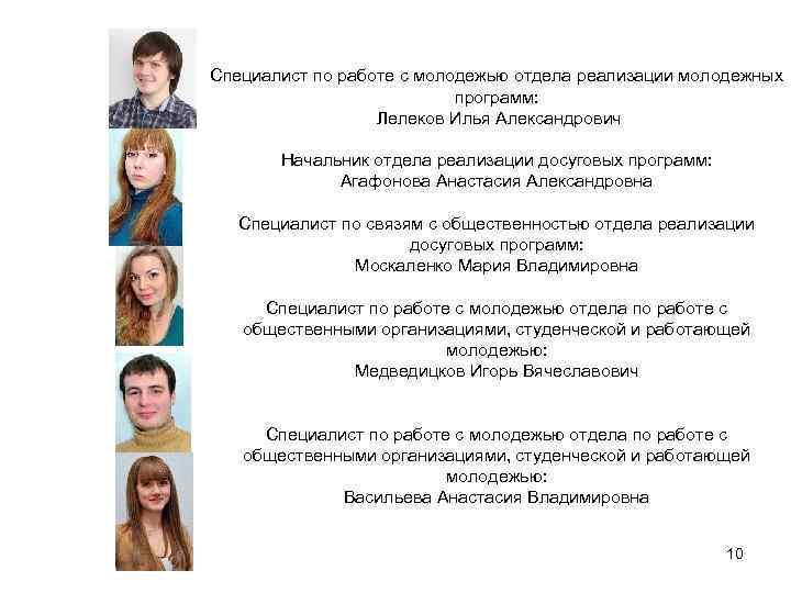 Специалист по работе с молодежью отдела реализации молодежных программ: Лелеков Илья Александрович Начальник отдела