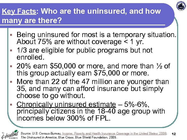 Key Facts: Who are the uninsured, and how many are there? § § §