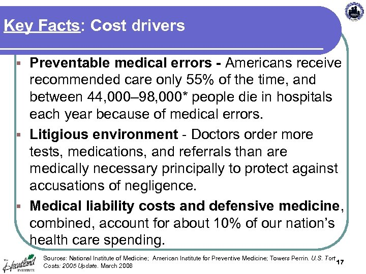 Key Facts: Cost drivers Preventable medical errors - Americans receive recommended care only 55%