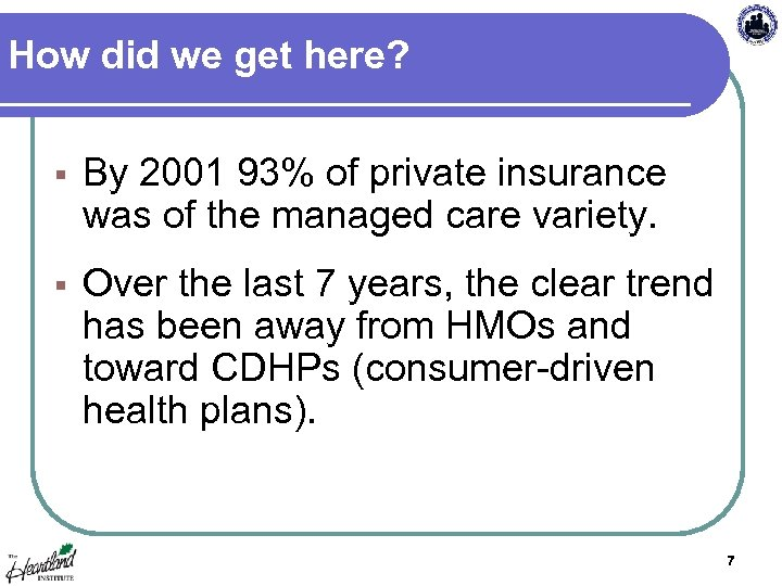 How did we get here? § By 2001 93% of private insurance was of