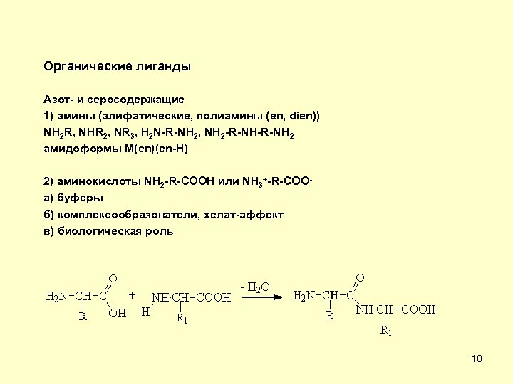 Органические лиганды Азот- и серосодержащие 1) амины (алифатические, полиамины (en, dien)) NH 2 R,