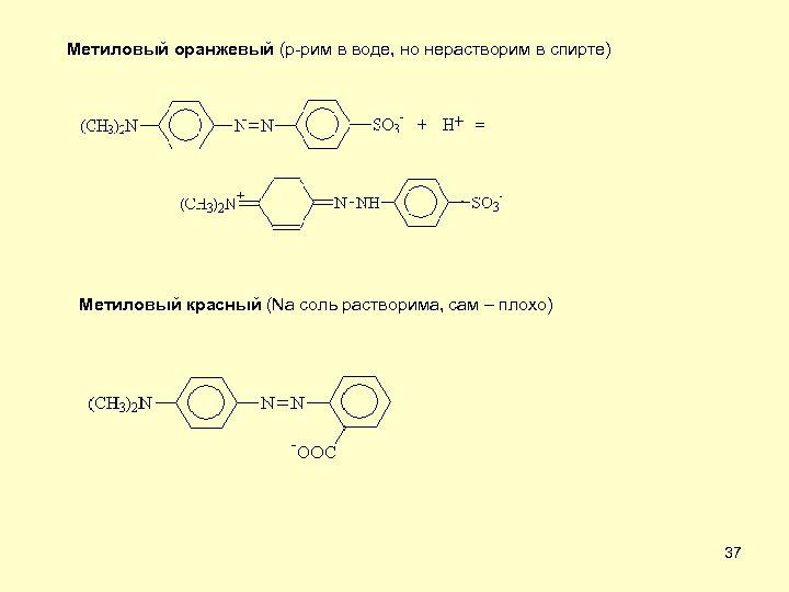 Метиловый оранжевый (р-рим в воде, но нерастворим в спирте) Метиловый красный (Na соль растворима,