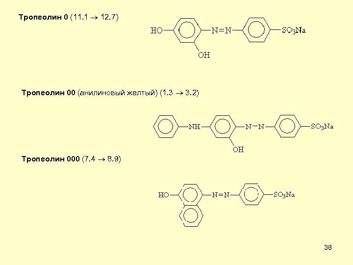 Тропеолин 0 (11. 1 12. 7) Тропеолин 00 (анилиновый желтый) (1. 3 3. 2)