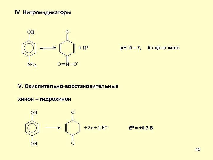 IV. Нитроиндикаторы p. H 5 – 7, б / цв желт. V. Окислительно-восстановительные хинон