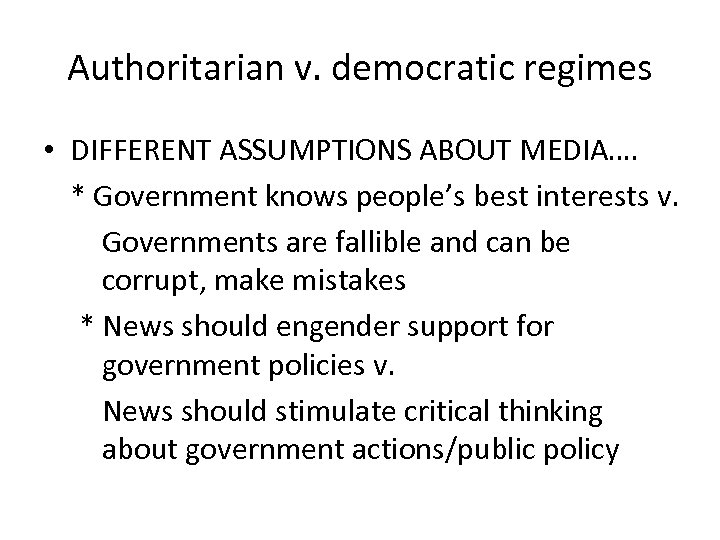 main differences between authoritarian and democratic regi A rising authoritarian wave  1930s the contest between authoritarian and democratic visions of society dominated the political struggle  more difficult to find a major country with vigorous.