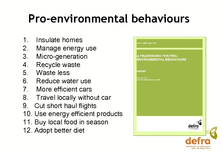 Pro-environmental behaviours 1. Insulate homes 2. Manage energy use 3. Micro-generation 4. Recycle waste