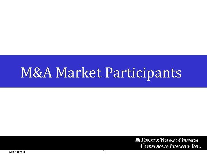 Date Private and Confidential M&A Market Participants Confidential 1