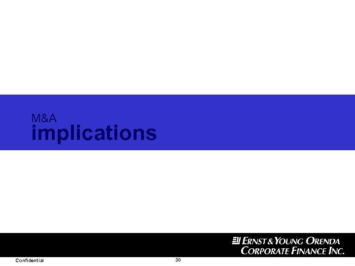 M&A implications Confidential 30