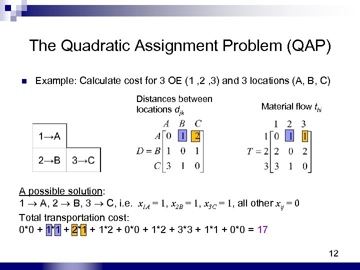 The Quadratic Assignment Problem (QAP) n Example: Calculate cost for 3 OE (1 ,