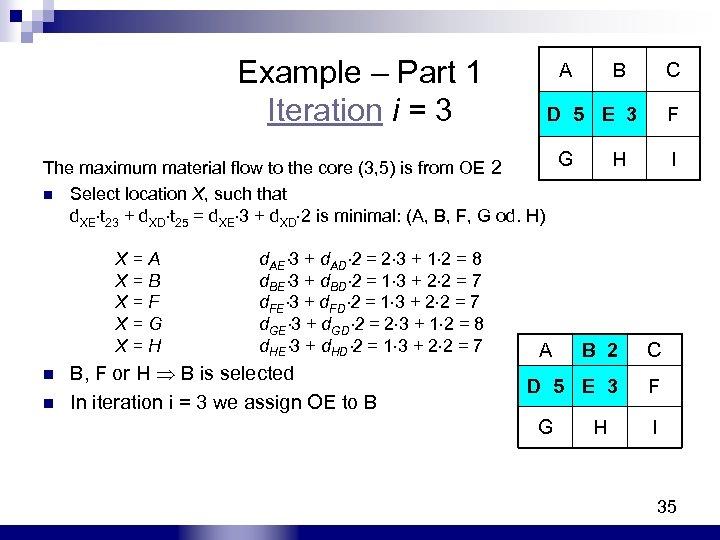 Example – Part 1 Iteration i = 3 A B C D 5 E