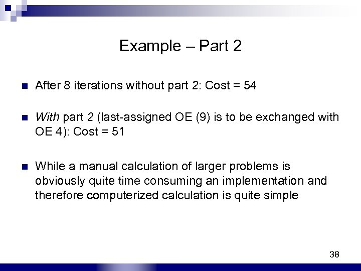 Example – Part 2 n After 8 iterations without part 2: Cost = 54