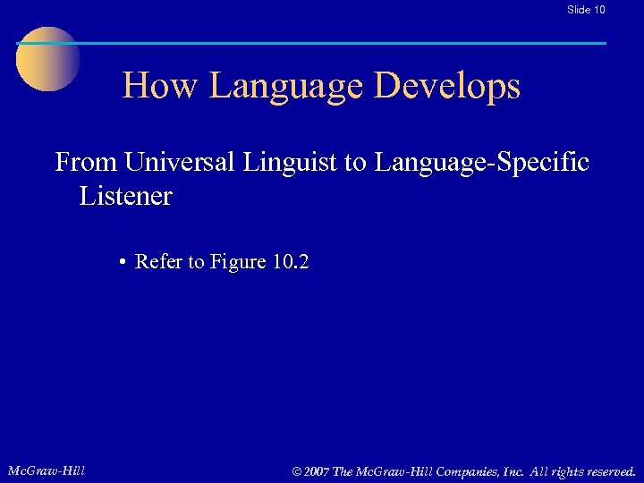 Slide 10 How Language Develops From Universal Linguist to Language-Specific Listener • Refer to