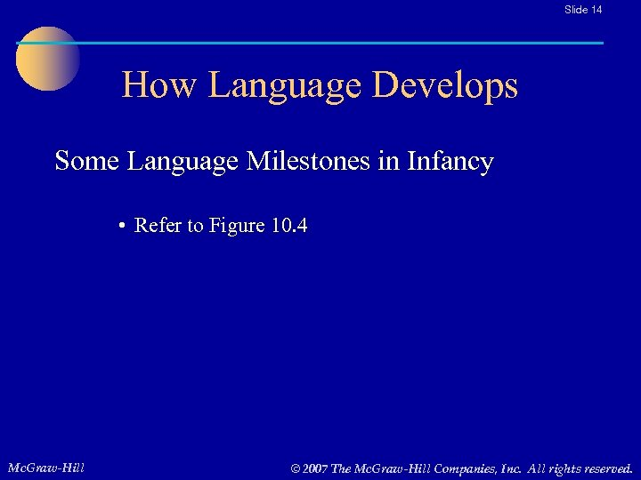 Slide 14 How Language Develops Some Language Milestones in Infancy • Refer to Figure