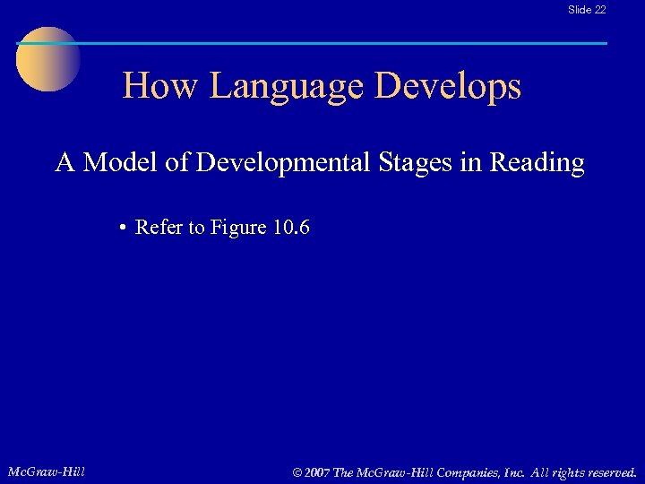 Slide 22 How Language Develops A Model of Developmental Stages in Reading • Refer