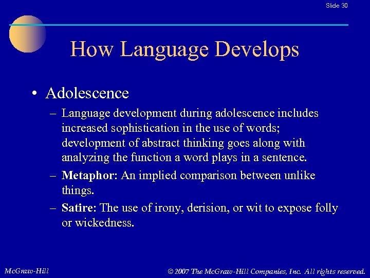 Slide 30 How Language Develops • Adolescence – Language development during adolescence includes increased