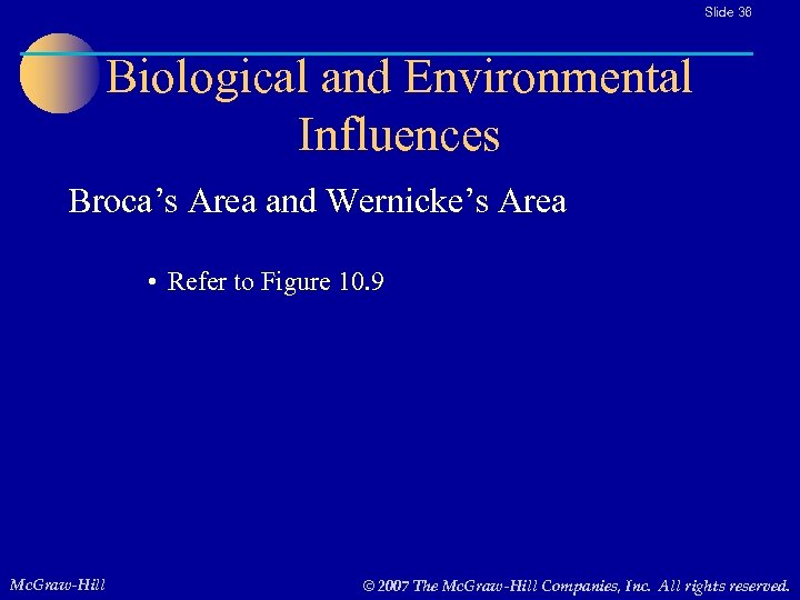 Slide 36 Biological and Environmental Influences Broca's Area and Wernicke's Area • Refer to