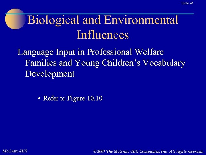 Slide 41 Biological and Environmental Influences Language Input in Professional Welfare Families and Young