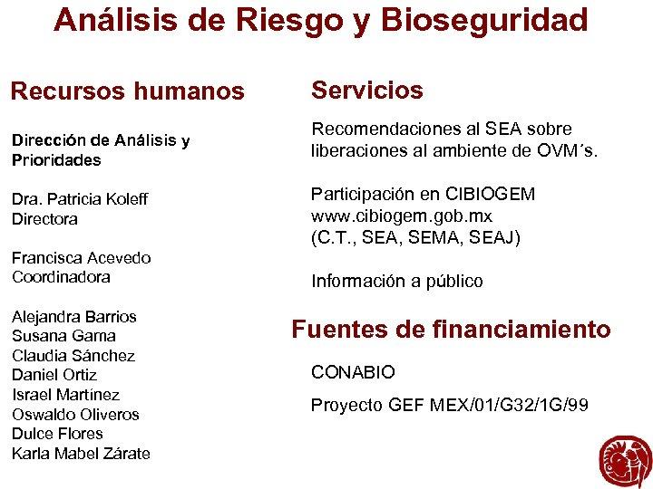 Análisis de Riesgo y Bioseguridad Recursos humanos Dirección de Análisis y Prioridades Dra. Patricia
