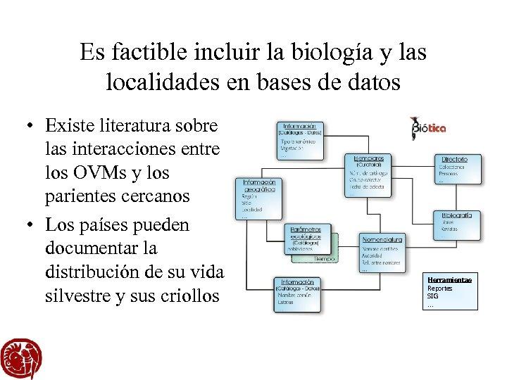 Es factible incluir la biología y las localidades en bases de datos • Existe