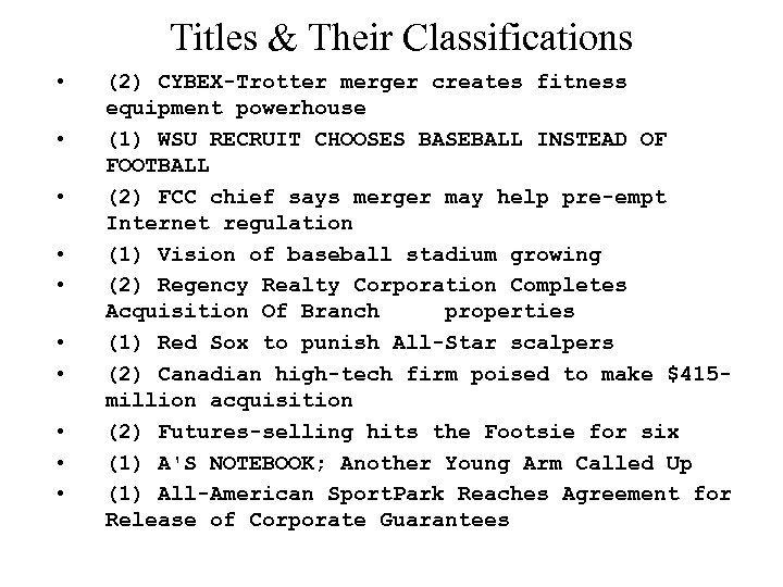 Titles & Their Classifications • • • (2) CYBEX-Trotter merger creates fitness equipment powerhouse