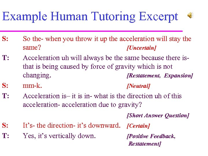 Example Human Tutoring Excerpt S: T: So the- when you throw it up the